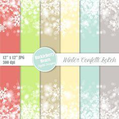 Confetti Bokeh Digital Paper, Bokeh Digital Paper, Confetti Paper, Holiday, Winter, Snowflakes, Sparkles