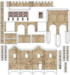 Free Original and Exclusive Paper Models and the Best, Rare and Unusual Free Papercrafts of All the World! Cardboard Box Houses, Cardboard Castle, Paper Houses, Paper Architecture, Historical Architecture, Ancient Roman Houses, Cube Template, N Scale Buildings, Model Castle