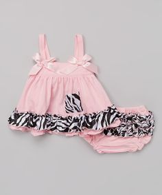 This Light Pink Zebra Swing Tunic & Diaper Cover - Infant by Under The Hooded Towels is perfect! #zulilyfinds