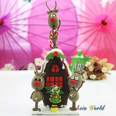 Reindeer prepare wood house and tree for Christmas by AsiaWorld, $65.00