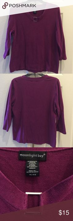 """Purple Sweater Wonderful 3/4 sleeve purple sweater with silver buckle sewn into the neckline. The measurements are 22"""" across and 23"""" long. Sweaters Crew & Scoop Necks"""