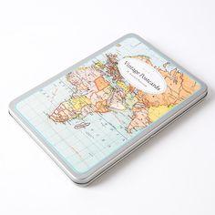 Vintage Maps Postcard Tin by Cavallini & Co.