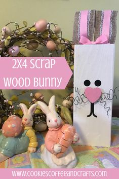 Create this adorable bunny from 2x4 Scrap Wooden and have an adorable decoration for Easter and spring.