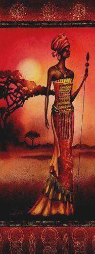 Nicola-Rabbett-Masai-Lady-Warrior-Keilrahmen-Bild-30x80-fertig-aufgespannt