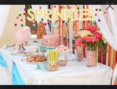 Fill jars with sprinkles