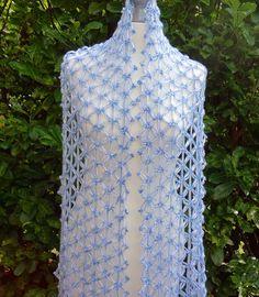Ravelry: Electra Wrap: Starry Love Knot Mesh pattern by Vashti Braha Hairpin Lace Crochet, Crochet Motif, Crochet Top, Crochet Edgings, Crochet Shirt, Crochet Poncho, Bead Loom Patterns, Crochet Patterns, Interweave Crochet