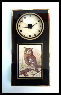 Vintage 70s 80s Quartz Modern Retro Owl Home Decor Wall Clock Hanging Brass   eBay