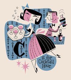Derek Yaniger illustrates retro style for Tales of the Cocktail and Tiki Oasis Illustrations Vintage, Retro Illustration, Mid Century Modern Art, Mid Century Art, Vintage Posters, Vintage Art, Vintage Cocktails, Image Deco, Retro Cartoons