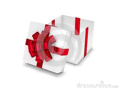 3d rendering of gift box with open lid isolated over white background
