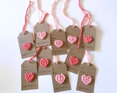 Crochet Heart Gift Tags, Gifted with Love, Handmade (Set of Handmade Wedding Gifts, Wedding Gift Tags, Handmade Gift Tags, Wedding Favor Boxes, Valentine Crafts, Valentines, Paper Tags, Christmas Gift Tags, Paper Roses
