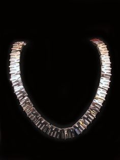 1960s Modernist Boucher necklace abstract geometric silvertone rhodium plated choker