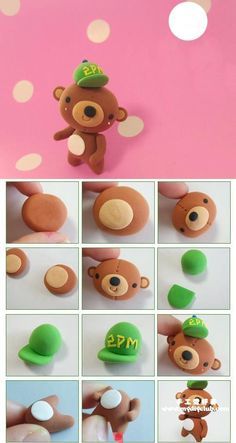 I know this is for FIMO/Clay but I think it could also be applied to fondant for some great cake decorating! Fimo Clay, Polymer Clay Charms, Polymer Clay Creations, Polymer Clay Art, Clay Projects, Clay Crafts, Jumping Clay, Cute Clay, Porcelain Clay