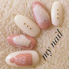 他のネイル画像3 1257038 ホワイト ピンク ニット マット 冬 チップ ハンド ミディアム