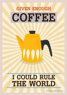Coffee print Cathrineholm coffee quote Retro poster by Cutzman, $10.00