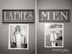 Hang childhood photos of bride and groom on the doors to the restrooms. Cute! @becky haley