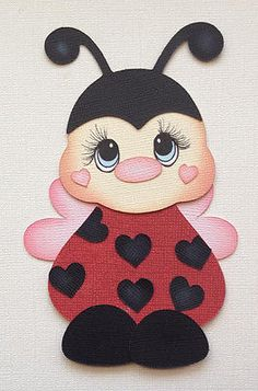 Premade Paper Piecing Scrapbook Lady Bug with Hearts Tear Bear Kira AP4P | eBay