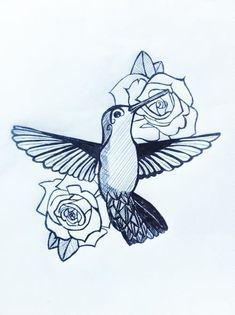 Rose Flowers And Hummingbird Tattoo Design