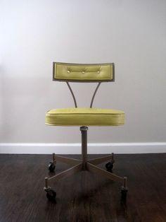Mid Century Modern 1950s Rolling Desk Chair by rhanvintage on Etsy, $175.00