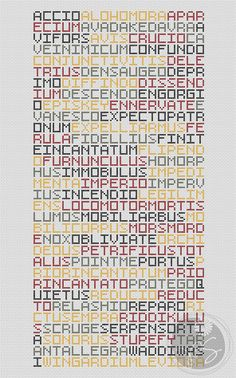 A lovely long list of all the spells in the harry potter books, custom colour options for the different hogwarts houses..