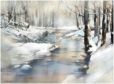 """Résultat de recherche d'images pour """"aquarelle de paysages sous la neige"""""""