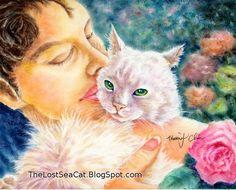 White Cat art PRINT of my pastel drawing  Love in by phoenixchiu, $25.00
