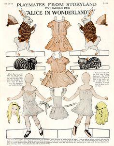 Alice in Wonderland ca. 1921 Alice In Wonderland Party, Adventures In Wonderland, Paper Art, Paper Crafts, Art Carte, Mad Hatter Tea, Vintage Paper Dolls, Antique Dolls, Paper Toys