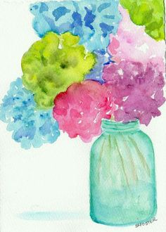 Items similar to Hydrangea painting, Original watercolor painting, Hydrangeas in Aqua Mason jar, flowers painting in canning jar 5 x 7 Farmhouse decor on Etsy Watercolour Painting, Watercolor Flowers, Painting & Drawing, Jar Painting, Watercolor Pattern, Watercolours, Hydrangea Painting, Painting Flowers, Guache