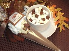 AUTUMN FALL wedding hot cocoa cone favors  maple by shadow090109, $2.99