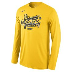 low priced 1abf0 6405a Golden State Warriors Nike Men s  Strength In Numbers  NBA Playoffs Team  Mantra Long Sleeve Tee - Gold