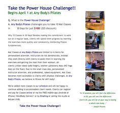Take the Power House Challenge at Any Body's Pilates! 10 Mat Classes in 30 Days fo $100!