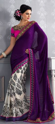 119872, Party Wear Sarees, Bollywood sarees, Georgette, Brasso, Border, Stone, Printed, White and Off White, Purple and Violet Color Family