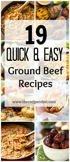 Quick Ground Beef Recipes -- easy, family-friendly dinner ideas 19 Ground Beef Recipes that are quick and easy! Including slow cooker recipes, one pot dishes and make ahead meals — perfect healthy dinner ideas for those busy weeknights! Beef Recipes Lunch, Beef Casserole Recipes, Meat Recipes, Slow Cooker Recipes, Cooking Recipes, Healthy Recipes, Slow Cooking, Quick Recipes, Beef Meals