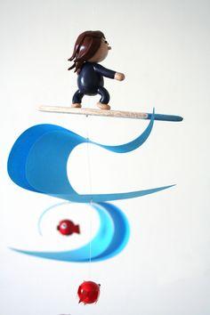 """mobile """" le petit surfeur, le poulpe et les poissons rouges """" : Jeux, peluches, doudous par les-mobidulles"""