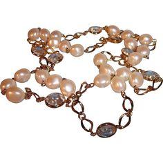 Vintage Goldtone Metal Chain Link Necklace Imitation Pearls & Crystal Drops. https://www.pinterest.com/rubylanecom/vintage-jewelry-25-or-less/