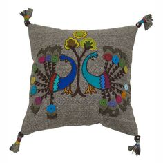 nuLOOM Decorative Peacock Multi Embroidered Cotton Pillow - Overstock™ Shopping - Great Deals on Nuloom Throw Pillows