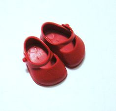 Vintage Ginny Red Doll Shoes 1.25 Inches Long by VictorianWardrobe, $5.99