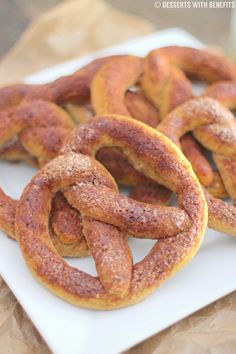 Healthy Low Carb and Gluten Free Cinnamon-Sugar Soft Pretzels (sugar free, high protein) - Healthy Dessert Recipes at Desserts with Benefits...
