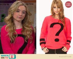 Maya's pink question mark sweater on Girl Meets World.  Outfit Details: http://wornontv.net/38159/ #GirlMeetsWorld