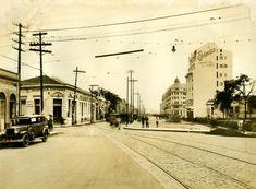 Avenida São João (1929) - Obras de pavimentação da Avenida São João, no bairro da República, vendo-se, à esquerda, a esquina com a Rua Vitória.
