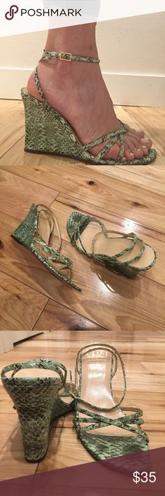 Kate Spade Leather Snakeskin Mint Wedges In good used condition- still lot of life left in these adorable and stylish authentic Kate Spade wedges. Adjustable ankle strap; height is approx 4inches. Reasonable offers considered. Thank you. kate spade Shoes Wedges