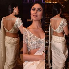 Kareena Kapoor Khan is once again giving us major fashion goals with her latest avatar and we are floored. Scroll down to check out the diva's latest look. Saree Blouse Neck Designs, Fancy Blouse Designs, Saree Blouse Patterns, Designer Blouse Patterns, Lehenga Blouse, Latest Blouse Designs, Indian Blouse Designs, Dress Designs, Design Patterns
