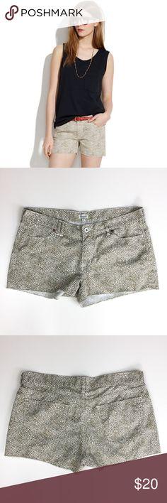 "Madewell Safari Dot Cutoff Shorts // 30 Great pair of Madewell shorts. Cutoff style with raw edge hem and safari Animal dot print. Very good condition. 100% cotton. Size 30. 10 3/4"" long. 17 1/3"" waist flat. Madewell Shorts"