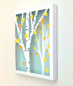 DIY: Birch Shadow Box - made with the Silhouette. It would be really neat to switch out the background color for the season. Blue winter. Green spring . Pink summer. Red/orange fall