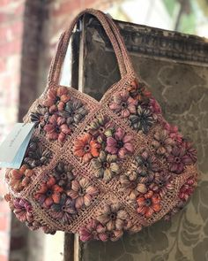 New stock in both stores, these pieces are in our Hawthorn store! Crochet Tote, Crochet Handbags, Crochet Purses, Crochet Crafts, Crochet Yarn, Crochet Flowers, Handmade Handbags, Handmade Bags, Scarlet