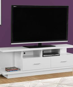 Look at this #zulilyfind! White 60'' Two-Drawer TV Stand #zulilyfinds