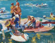 Victor Pirogov was born in 1925 in Baku, Azerbaijan. In 1947 he began studying at the Baku Aziz-Zade Art School and in was a student of the Academy of Fine Arts in Kiev, Ukraine. Art School, World War Ii, Online Art, Summer Vibes, 1960s, Original Art, Illustration Art, Boat, Antiques