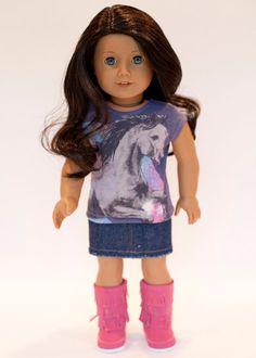 American Girl doll upcycled horse t shirt by EverydayDollwear, $10.50