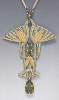 René Lalique 'Pine Cones' Pendant Necklace, 1900: gold, enamel, peridot. 5.8cm long. Image source: René Lalique Schmuck, Marianne Bernhard