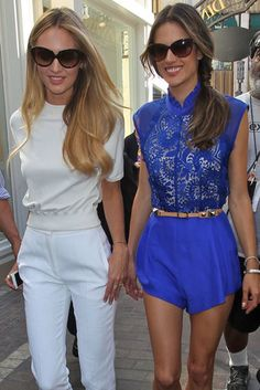 Angels in Shades: Candice Swanepoel and Alessandra Ambrosio made the media rounds in LA on Tuesday to promote Victoria Secrets new swim line.