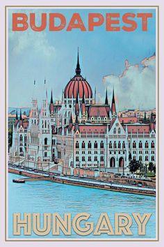 Vintage poster – Budapest Hungary – Affiche retro - New Site Retro Poster, Vintage Travel Posters, Photo Vintage, Retro Vintage, Vintage Hawaii, Illustrations Vintage, Tourism Poster, Budget Planer, Beach Trip